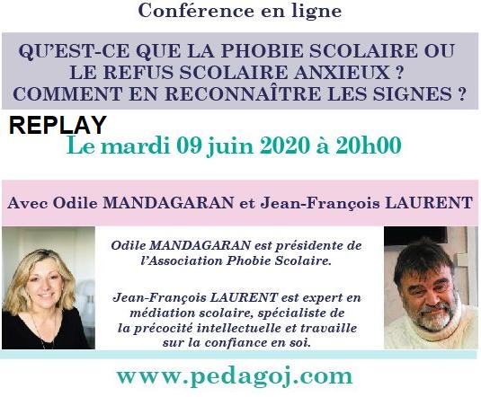 Phobie Scolaire conférence phobie scolaire Odile Mandagaran Jean-Francois Laurent